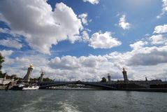 Pont Alexandre III, sky, waterway, cloud, sea. Pont Alexandre III is sky, sea and water. That marvel has waterway, river and fixed link and that beauty contains royalty free stock photography