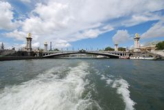 Pont Alexandre III, waterway, sky, sea, river. Pont Alexandre III is waterway, river and water. That marvel has sky, bridge and coast and that beauty contains royalty free stock photos
