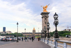 Pont Alexandre 3, Paris, France. View of the bridge  Alexander  of paris and the invalide building  in the district parisien Royalty Free Stock Photo