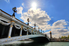 Pont Alexandre spring sunshine Stock Photos