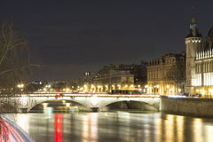 The Pont au change at night, Paris, France. Stock Photo
