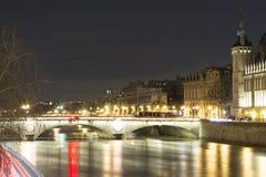 The Pont au change at night, Paris, France. Stock Photo