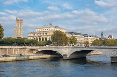 Pont au Change in Paris. Pont au Change across the Seine river in the historical centre of Paris, the capital and most visited city of France Stock Photo