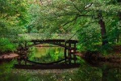 Pont au-dessus d'étang en parc Photos libres de droits