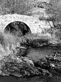 Pont au-dessus d'une rivière de montagne sur noir et blanc photographie stock libre de droits