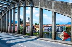 Pont au-dessus de la rivière Adda - Brivio Image stock