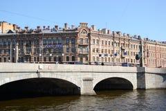 Pont au-dessus de la rivière de Fontanka Photos libres de droits