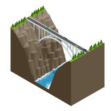 Pont au-dessus de la rivière dans les montagnes Illustration isométrique plate de vecteur de construction de pont Images libres de droits