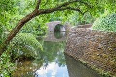 Pont au-dessus de petite rivière en parc Photographie stock libre de droits