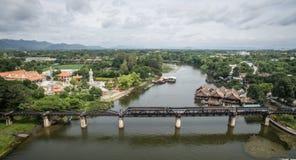Pont au-dessus de rivière de Kwai, Kanchanaburi, Thaïlande Image stock