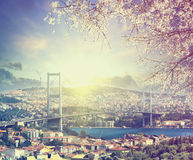 Pont au-dessus du Bosphore au coucher du soleil de ressort, Istanbul, Turquie Photos stock