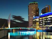 Pont au-dessus du canal maritime de Manchester Image libre de droits