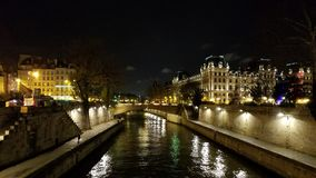Pont au Double View of The River Seine. A view of the river Seine looking from the Pont au Double south of Notre Dame Cathedral in Paris, France on December 9th Royalty Free Stock Photos
