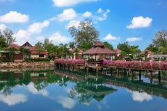 Pont avec des fleurs à travers la baie dans un jardin tropical Photos libres de droits