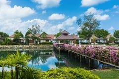 Pont avec des fleurs à travers la baie dans un jardin tropical Photographie stock