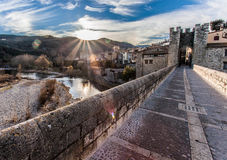 Pont of Besalu, Spain. Bridge at Besalu, Spain. One of the oldest bridges at Europe Stock Images