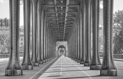 Pont Bir Hakeim in Paris. A picture showing the many columns of this breathtaking bridge near the Eiffel Tower. The bridge was used in the Paris dream scene in Royalty Free Stock Photo