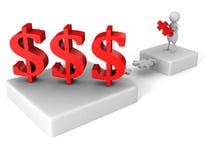 Pont blanc de puzzle de l'homme 3d aux symboles monétaires du dollar illustration de vecteur