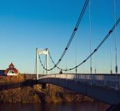pont Câble-resté dans la ville d'Iochkar-Ola Images libres de droits