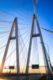 pont Câble-resté pendant le matin images stock