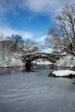 Pont couvert de neige dans le Central Park à New York Photos libres de droits