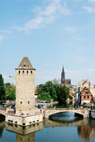 Pont Couverts和大教堂在史特拉斯堡,法国 免版税库存图片