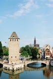 Pont Couverts och domkyrka i Strasbourg, Frankrike Royaltyfria Bilder