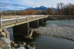 Pont croisant au-dessus de la rivière avec de l'eau la basse mer Photographie stock