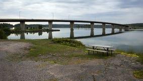 Pont d'île de Twyning, St Joseph, Ontario photographie stock libre de droits