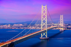 Pont d'Akashi Kaikyo au Japon photographie stock