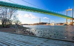 Pont d'Alvsborg à Goteborg, Suède Photos stock