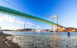 Pont d'Alvsborg à Goteborg, Suède Photos libres de droits