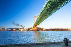 Pont d'Alvsborg à Goteborg, Suède Photographie stock