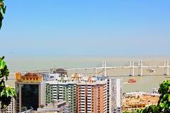 Pont d'Amizade et paysage urbain, Macao, Chine Photo libre de droits