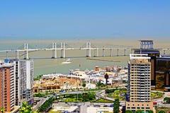 Pont d'Amizade et paysage urbain, Macao, Chine Photographie stock libre de droits