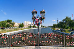 Pont d'amour en Astrakan Photo stock