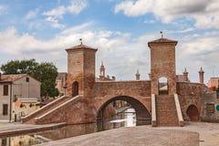 Pont d'Ancent dans Comacchio, Italie Photographie stock libre de droits