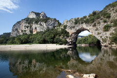 Pont d'arc arch on Ardeche river Royalty Free Stock Photos