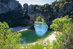 The Pont d`Arc in France. The Pont d`Arc is a large natural bridge in Ardeche canyon, France Stock Image