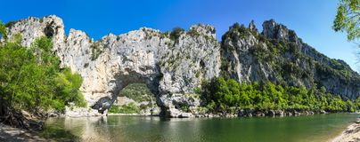 The Pont d`Arc in France. The Pont d`Arc is a large natural bridge in Ardeche canyon, France Stock Photos