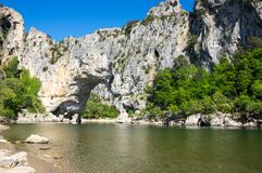 The Pont d`Arc in France. The Pont d`Arc is a large natural bridge in Ardeche canyon, France Stock Photo