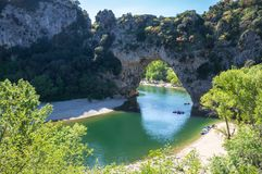 The Pont d`Arc in France. The Pont d`Arc is a large natural bridge in Ardeche canyon, France Stock Images