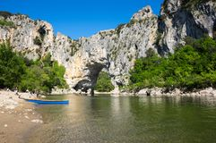 The Pont d`Arc in France. The Pont d`Arc is a large natural bridge in Ardeche canyon, France Royalty Free Stock Images