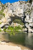 The Pont d`Arc in France. The Pont d`Arc is a large natural bridge in Ardeche canyon, France Stock Photography