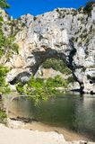 The Pont d`Arc in France. The Pont d`Arc is a large natural bridge in Ardeche canyon, France Royalty Free Stock Photos