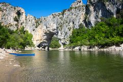 The Pont d`Arc in France. The Pont d`Arc is a large natural bridge in Ardeche canyon, France Royalty Free Stock Photography