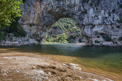 The Pont d'Arc is a large natural bridge. Royalty Free Stock Image