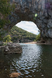 The Pont d'Arc is a large natural bridge. Royalty Free Stock Photos