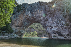 The Pont d'Arc is a large natural bridge. Stock Images