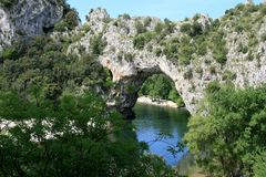 Pont d' Arc, a natural arch bridge in France Royalty Free Stock Image
